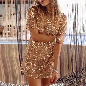 Rat & Boa Gold Sequin Serin Mini Dress